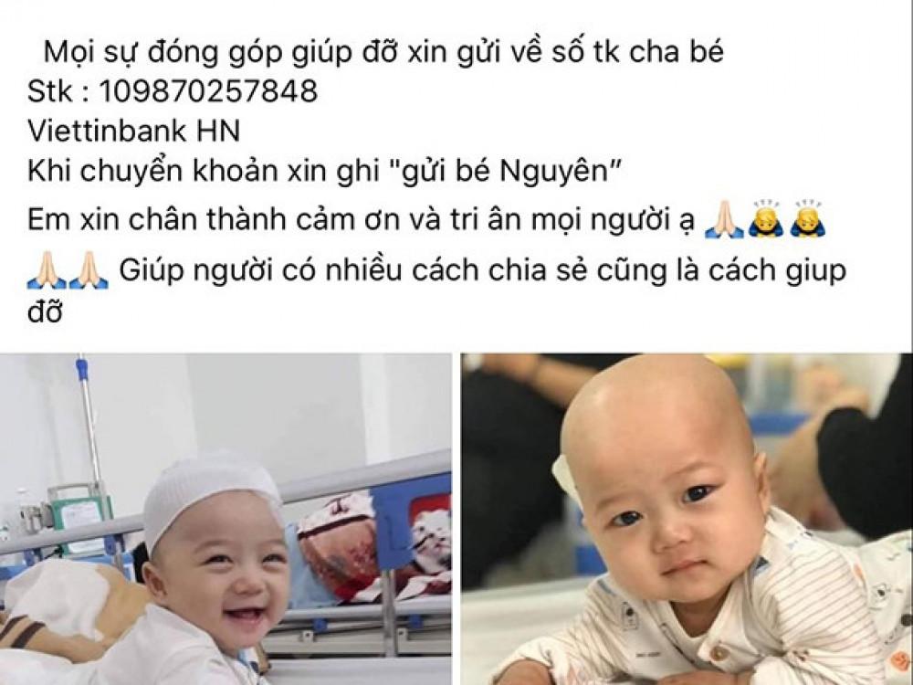 Những hình ảnh, thông tin về bệnh tình của bé Hoàng Nguyên đều đúng sự thật, duy chỉ có số tài khoản của bố bé là sai.
