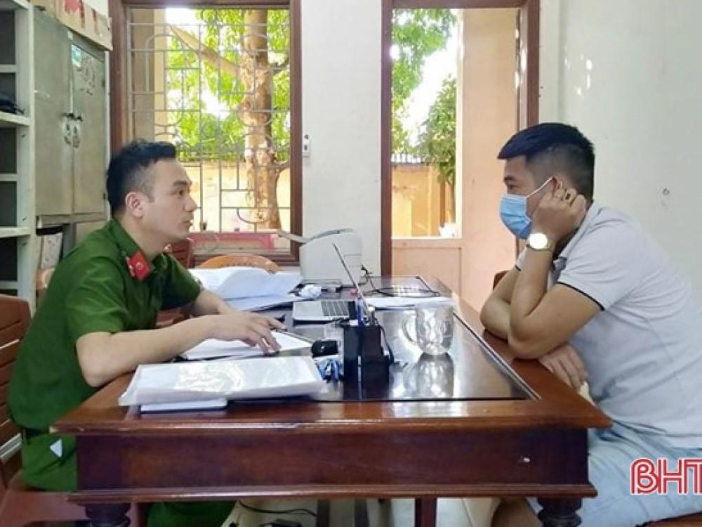 Hôm nay 26/8, Công an huyện Can Lộc bắt đầu lấy lời khai của các đối tượng